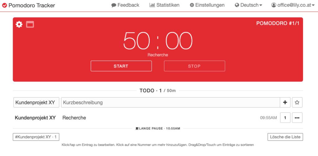 Pomodoro-Tracker, um sofort produktiver zu werden