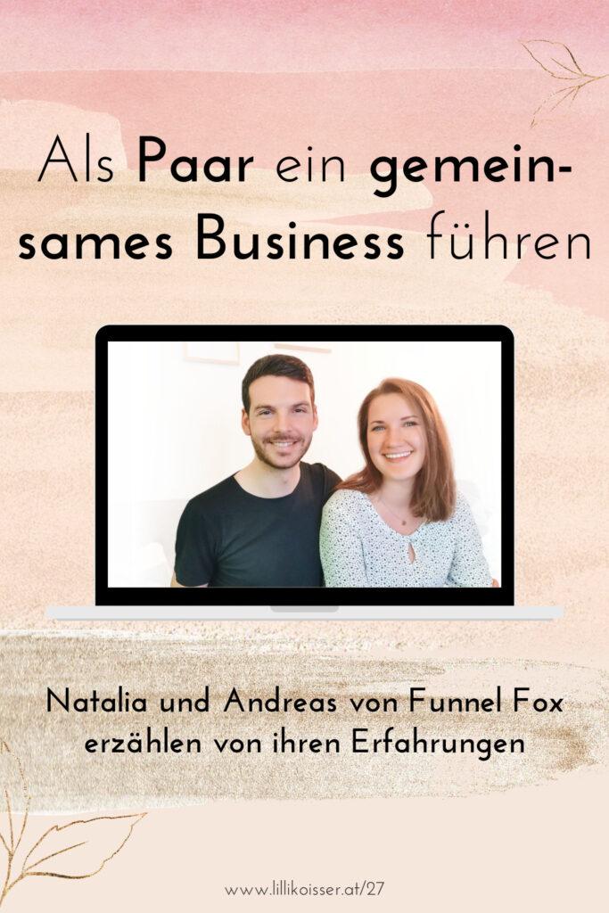 Pyjama-Business Podcast Folge 27 Selbstständig als Paar - Natalia und Andreas von Funnel Fox im Interview